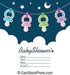 Baby Shower invitation greeting card.