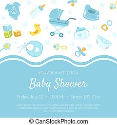 Baby Shower Invitation Banner Template, Light Blue Card with Newborn Baby Symbols Seamless Pattern and Place for Text Vector Illustration