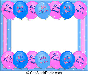 Baby shower invitation border with pink and blue balloons,...
