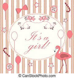 Baby Shower Invitation Card Design with flamingo