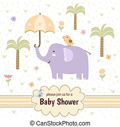 Baby shower invitation card with a cute elephant
