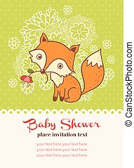 Baby shower invitation card with a fox.