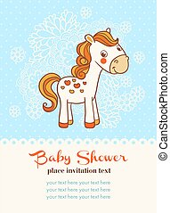 Baby shower invitation card with horse.