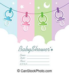 Baby Shower Invitation Cards - Vector baby shower invitation...