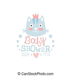 Baby Shower Invitation Design Template With Cat