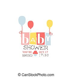Baby Shower Invitation Design Template With Balloons