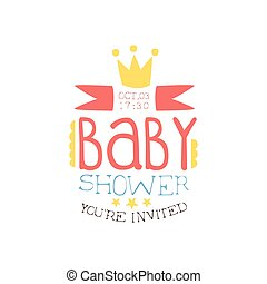 Baby Shower Invitation Design Template With Crown