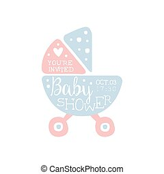Blue baby stroller invitation. Blue baby shower invitation... vector ...