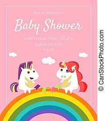 Baby Shower Invitation Template, Cute Card with with Lovely Unicorn, Rainbow and Place For Text Vector Illustration