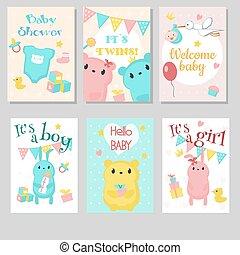 Baby shower invitation vector template set