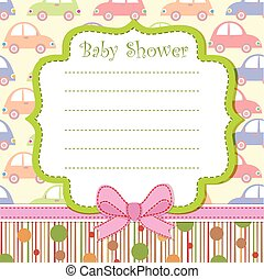 Baby shower invitation with cars