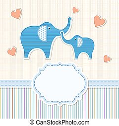 Baby shower invitation with elephan