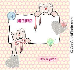 Baby Shower Invitation with Polka Dot Background