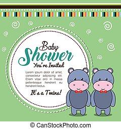 baby shower invitation with stuffed animal vector illustration design