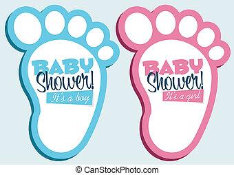 Baby feet invitation cards.