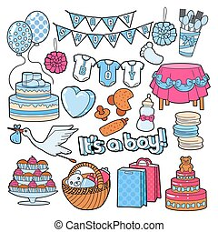 Baby Shower It's a Boy Party Doodle with Baby Elements. Vector illustration