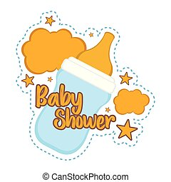 Baby shower label with a baby bottle