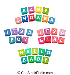 Baby shower lettering on colorful toy bricks
