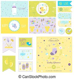 Baby Shower Little Boy Set - for Party Decoration, Baby Shower, Scrapbook, Birthday - in vector
