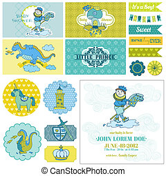 Baby Shower Little Prince Boy Set - for Party Decoration, Scrapbook, Birthday - in vector