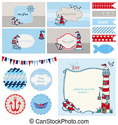 Baby Shower Nautical Set - for Party Decoration, Scrapbook, Baby Shower - in vector