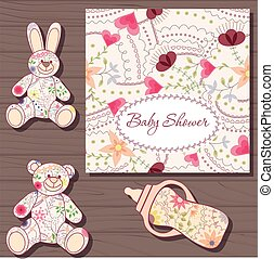 Baby shower on wooden background