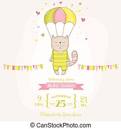 ae8e1df0492 Baby Shower or Arrival Card - Baby Girl Cat Flying with a Parachute - in  vector