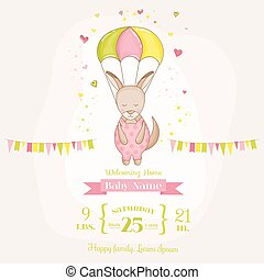 902b95fba25 Baby Shower or Arrival Card - Baby Girl Kangaroo Flying with a Parachute -  in vector