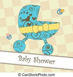 Baby Shower or Arrival Card - Card with a blue stroller