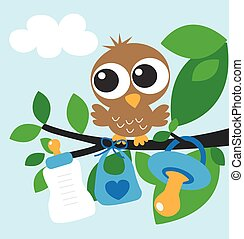 baby shower or newborn baby boy greeting card or gift bag...