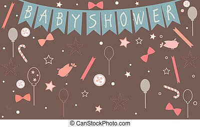 Baby Shower Party. Celebration of a newborn. Flying birds, ribbons, buttons, etc.