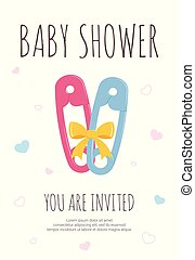 Baby shower party template for future mommy of boy and girl twins with pink and blue toddler safety pins.