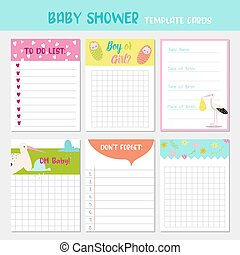 Baby Shower Party Templates. To Do List, Newborn Child Card, Childish Backgrounds with Cute Stork. Happy Birthday Decoration. Vector illustration
