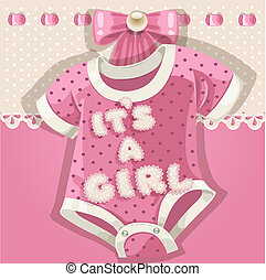 Baby shower pink card with baby shoes