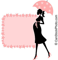 Illustration of a young pregnant woman and a cute floral frame in pink. Perfect for baby shower invitation,