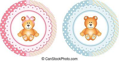 Baby shower round sticker labels with teddy bear