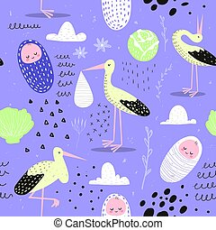 Baby Shower Seamless Pattern with Cute Stork and Newborn Child. Baby Background for Decoration, Wallpaper, Fabric. Vector illustration