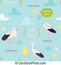 Baby Shower Seamless Pattern with Cute Storks and Newborn Child. Baby Background for Decoration, Wallpaper, Fabric, Invitation. Vector illustration