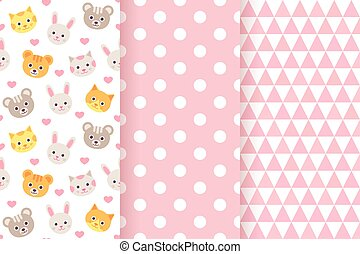 Baby shower seamless patterns for baby girl. Vector illustration.