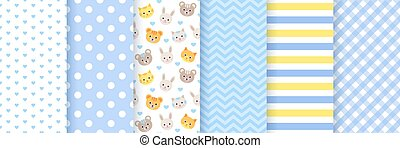 Baby shower seamless patterns for boy. Vector illustration.
