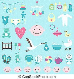Baby shower set for boy - Set of baby shower flat elements...