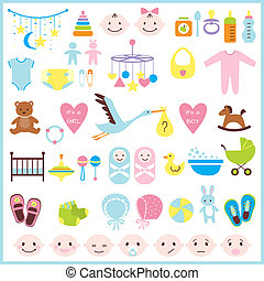 Baby shower set - Set of baby shower elements isolated on...