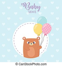 baby shower, teddy bear with balloons heart blue background