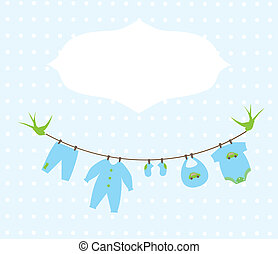 Baby Shower - vector baby boy shower card