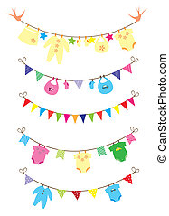 Baby Shower - vector baby clothes and bunting