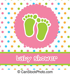 baby shower with footprints card. vector illustration
