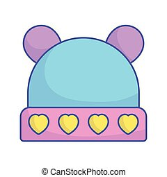 baby shower warm hat with hearts and ears icon