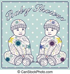 Baby shower with baby boy twins