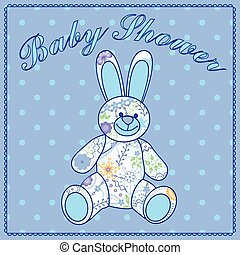 Baby shower with bunny toy