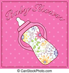 Baby shower with feeding bottle